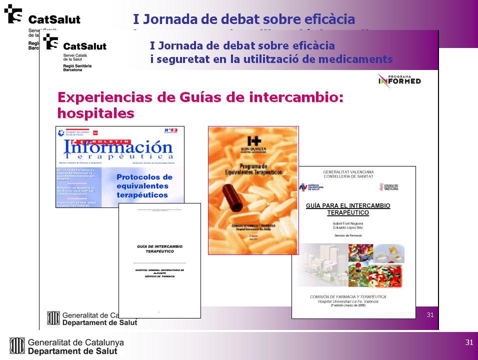 31 I Jornada de debat sobre eficàcia i seguretat en la utilització de medicaments