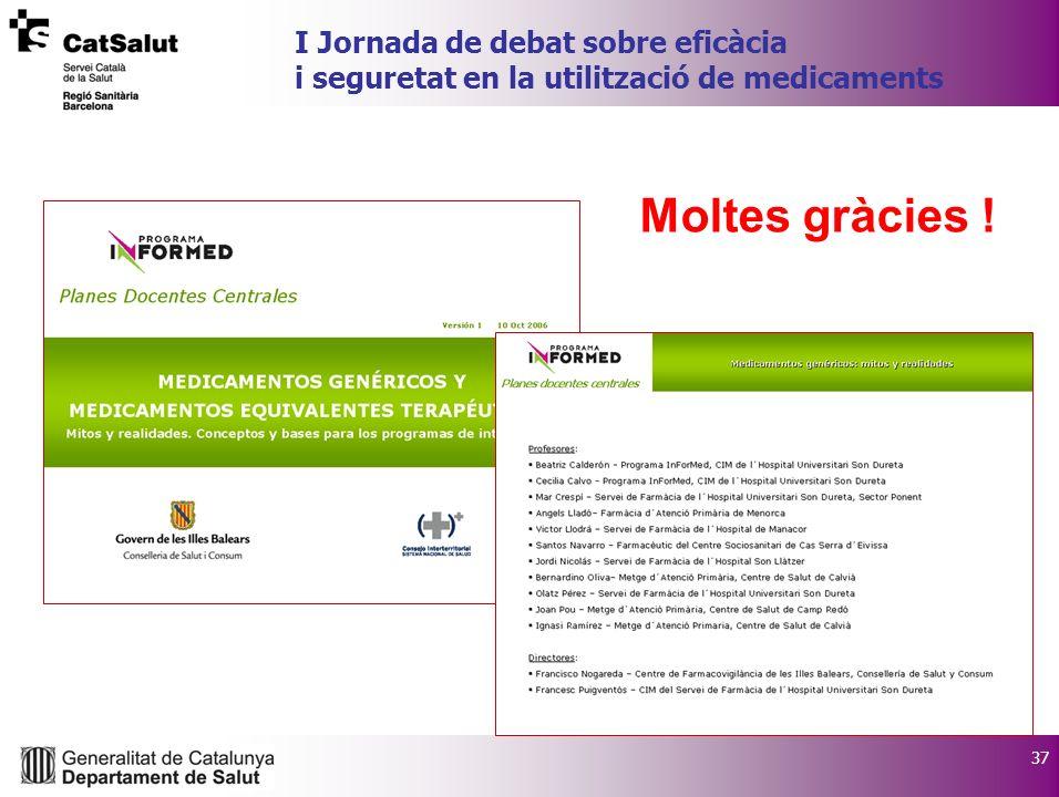 37 I Jornada de debat sobre eficàcia i seguretat en la utilització de medicaments Moltes gràcies !
