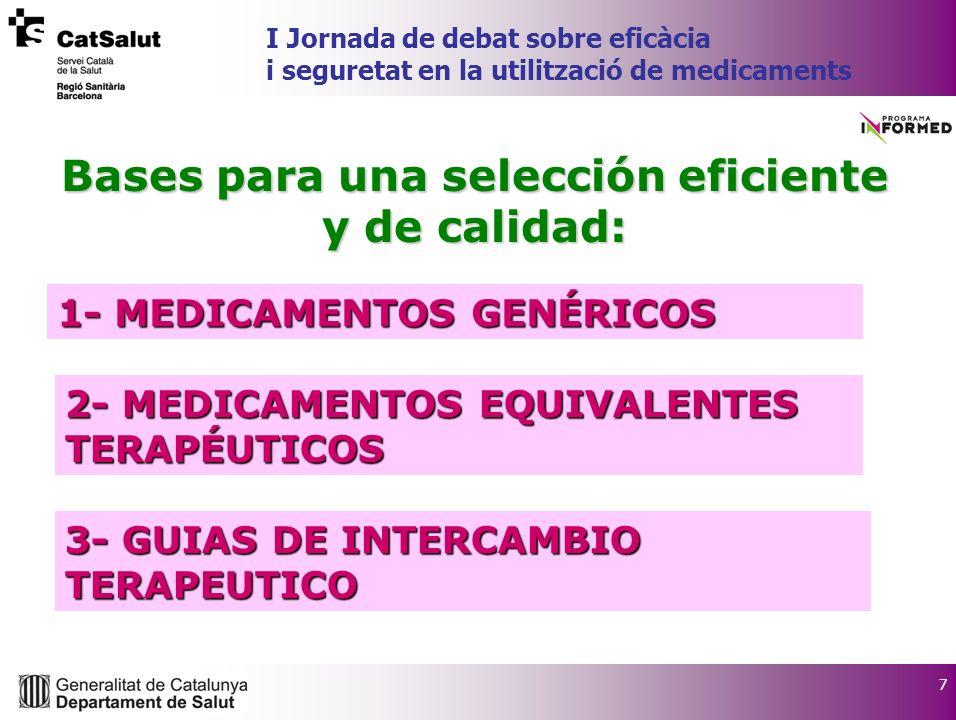 7 Bases para una selección eficiente y de calidad: 2- MEDICAMENTOS EQUIVALENTES TERAPÉUTICOS 3- GUIAS DE INTERCAMBIO TERAPEUTICO 1- MEDICAMENTOS GENÉRICOS