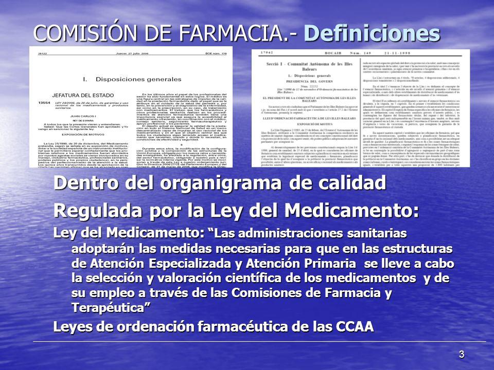 3 COMISIÓN DE FARMACIA.- Definiciones Dentro del organigrama de calidad Regulada por la Ley del Medicamento: Ley del Medicamento: Las administraciones sanitarias adoptarán las medidas necesarias para que en las estructuras de Atención Especializada y Atención Primaria se lleve a cabo la selección y valoración científica de los medicamentos y de su empleo a través de las Comisiones de Farmacia y Terapéutica Leyes de ordenación farmacéutica de las CCAA