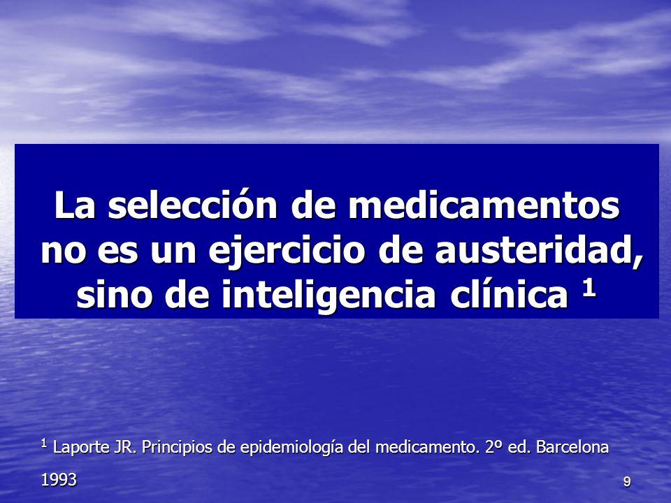 9 La selección de medicamentos no es un ejercicio de austeridad, sino de inteligencia clínica 1 1 Laporte JR.