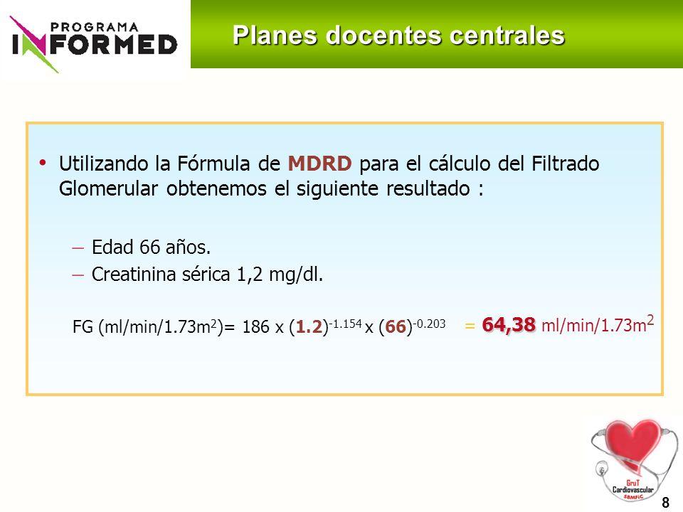 Planes docentes centrales 206 Analítica de control – Glucemia 122 mg/dl, HbA1C 6.5% – Creatinina 1,0 mg/dl (FG : 72.06 ml/min/1.73m 2 ) – GOT y GPT en rango normal – Cociente albúmina creatinina 12 mg/g – Na 141 y K 3.9 – Col total 175 mg/dl; HDL 39 mg/dl; LDL 102 mg/dl; TG 172 mg/dl 9