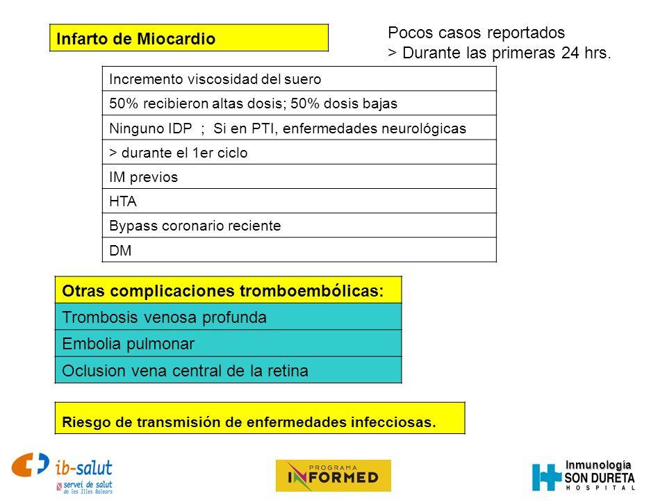 Inmunología Pocos casos reportados > Durante las primeras 24 hrs. Infarto de Miocardio Incremento viscosidad del suero 50% recibieron altas dosis; 50%