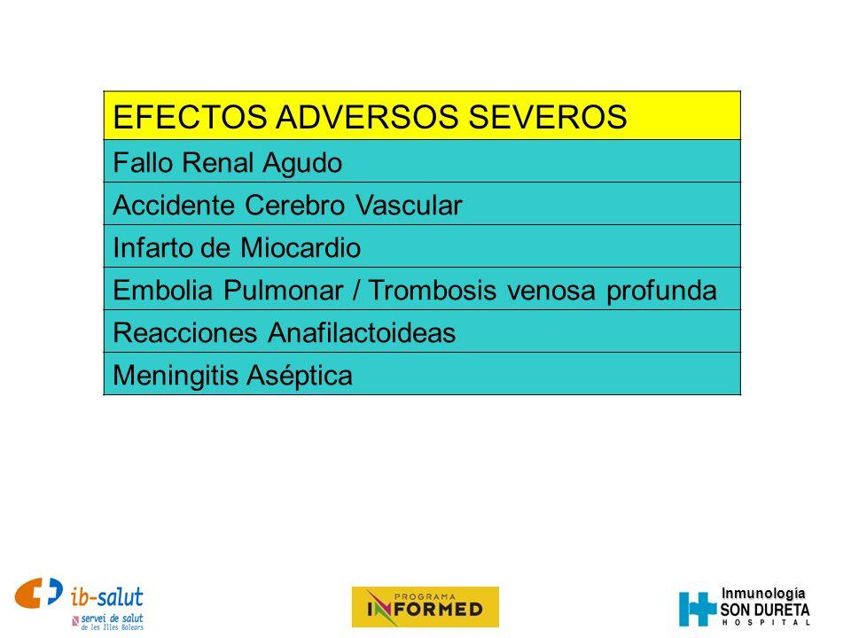 Inmunología EFECTOS ADVERSOS SEVEROS Fallo Renal Agudo Accidente Cerebro Vascular Infarto de Miocardio Embolia Pulmonar / Trombosis venosa profunda Re