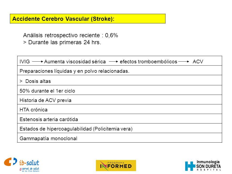 Inmunología Accidente Cerebro Vascular (Stroke): Análisis retrospectivo reciente : 0,6% > Durante las primeras 24 hrs. IVIG Aumenta viscosidad sérica