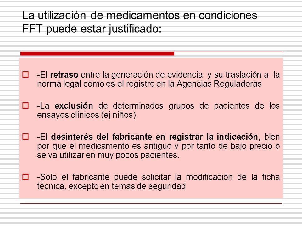 La utilización de medicamentos en condiciones FFT puede estar justificado: -El retraso entre la generación de evidencia y su traslación a la norma leg