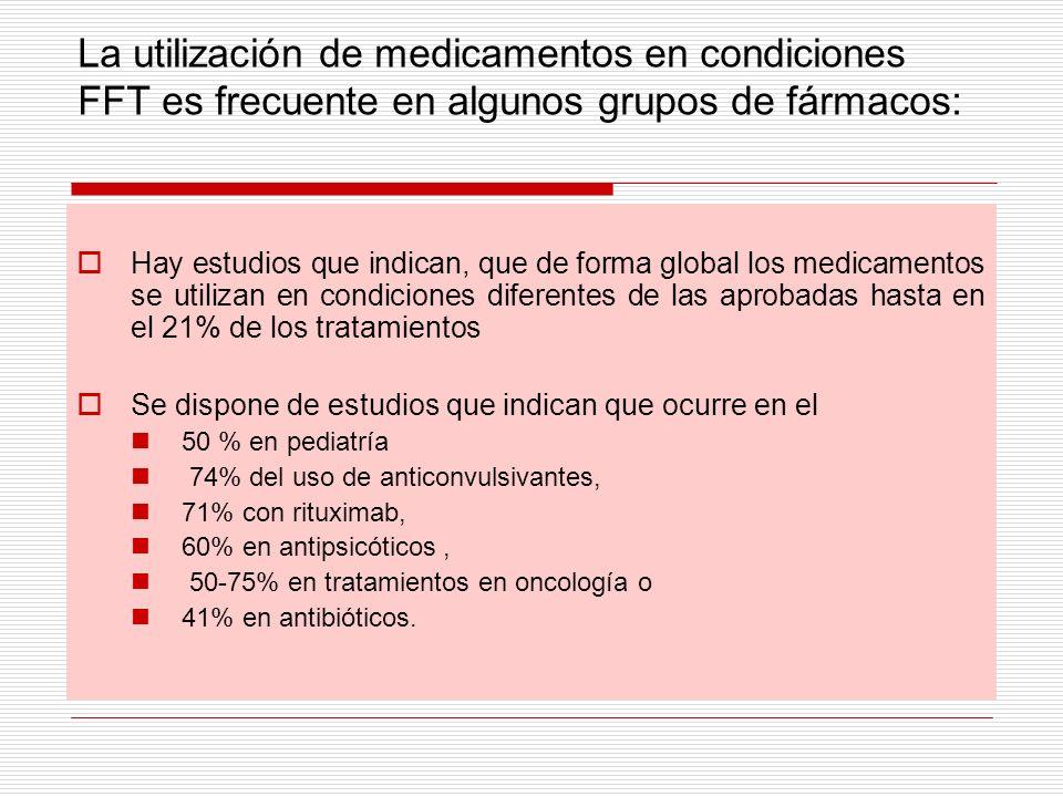La utilización de medicamentos en condiciones FFT es frecuente en algunos grupos de fármacos: Hay estudios que indican, que de forma global los medica