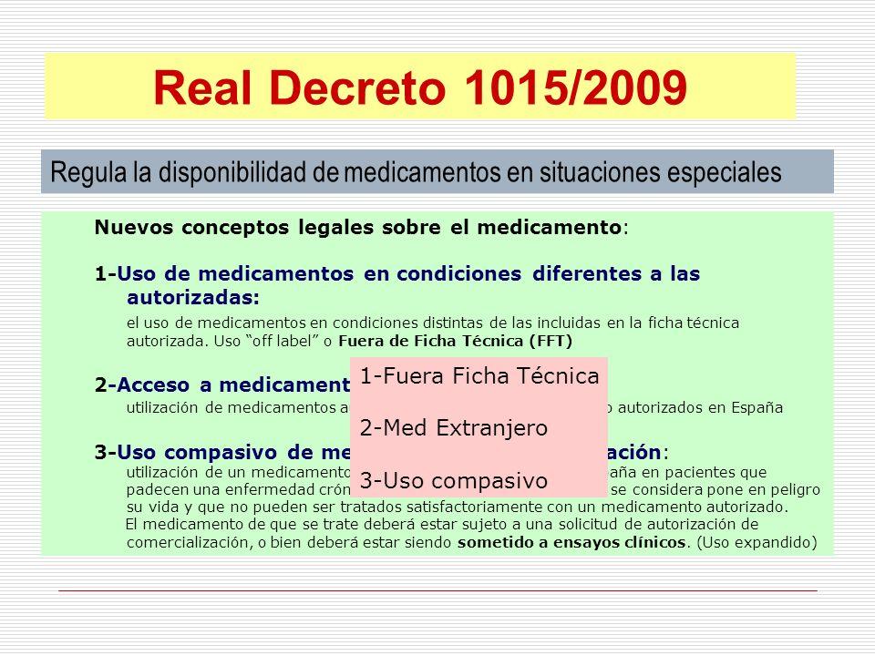 Regula la disponibilidad de medicamentos en situaciones especiales Medicamentos en condiciones diferentes a las autorizadas, off label o Fuera Ficha Técnica (FFT) Real Decreto 1015/2009 1