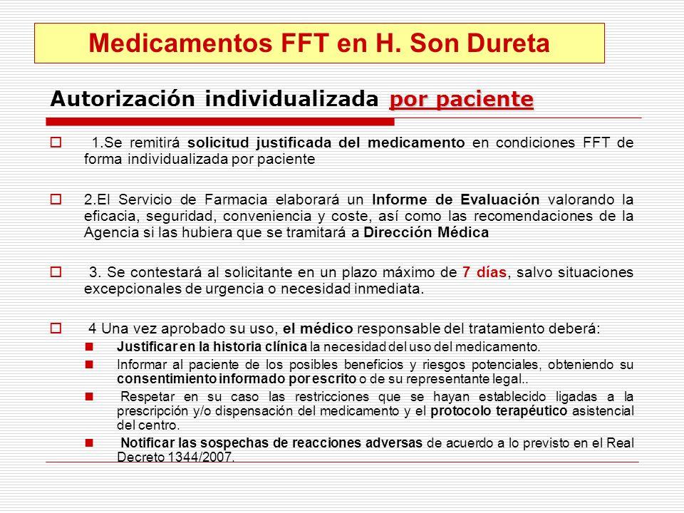 por paciente Autorización individualizada por paciente 1.Se remitirá solicitud justificada del medicamento en condiciones FFT de forma individualizada