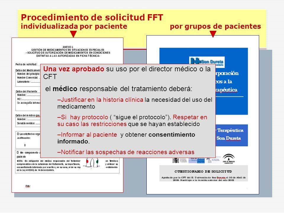 Procedimiento de solicitud FFT individualizada por paciente por grupos de pacientes Una vez aprobado su uso por el director médico o la CFT el médico