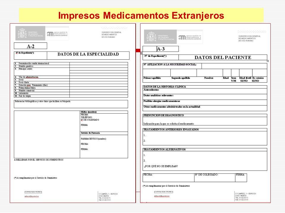 Impresos Medicamentos Extranjeros