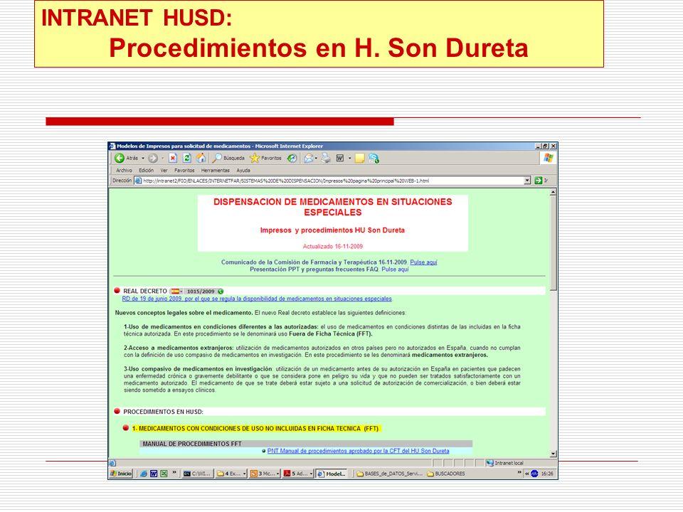 INTRANET HUSD: Procedimientos en H. Son Dureta