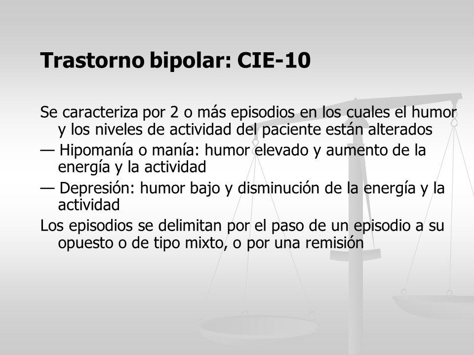 Trastorno bipolar: CIE-10 Se caracteriza por 2 o más episodios en los cuales el humor y los niveles de actividad del paciente están alterados Hipomaní