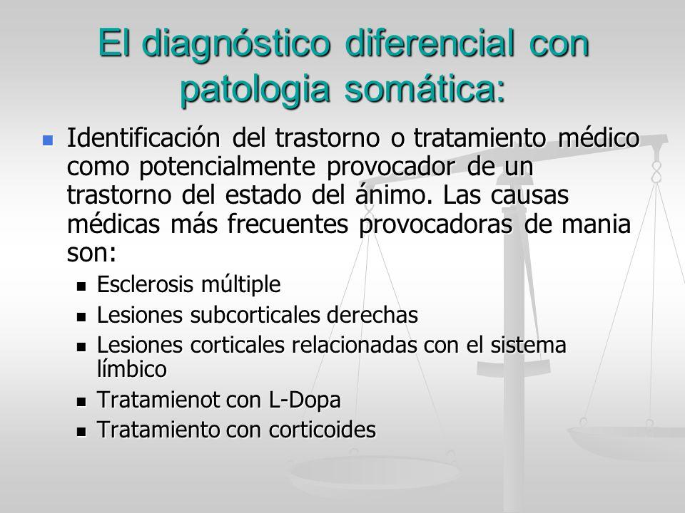 El diagnóstico diferencial con patologia somática: Identificación del trastorno o tratamiento médico como potencialmente provocador de un trastorno de