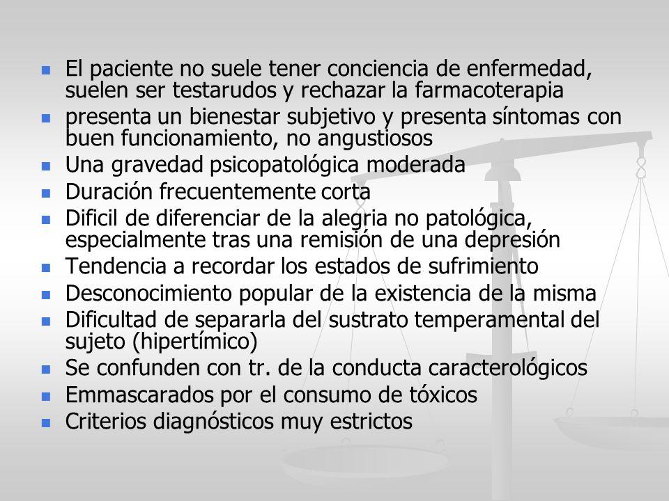 El paciente no suele tener conciencia de enfermedad, suelen ser testarudos y rechazar la farmacoterapia presenta un bienestar subjetivo y presenta sín
