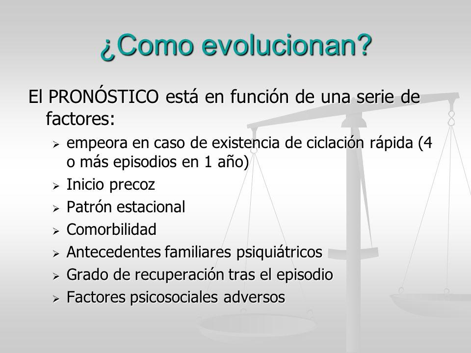 ¿Como evolucionan? El PRONÓSTICO está en función de una serie de factores: empeora en caso de existencia de ciclación rápida (4 o más episodios en 1 a