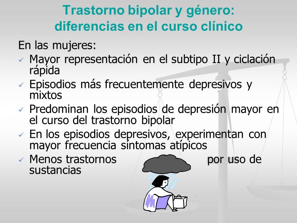 Trastorno bipolar y género: diferencias en el curso clínico En las mujeres: Mayor representación en el subtipo II y ciclación rápida Episodios más fre