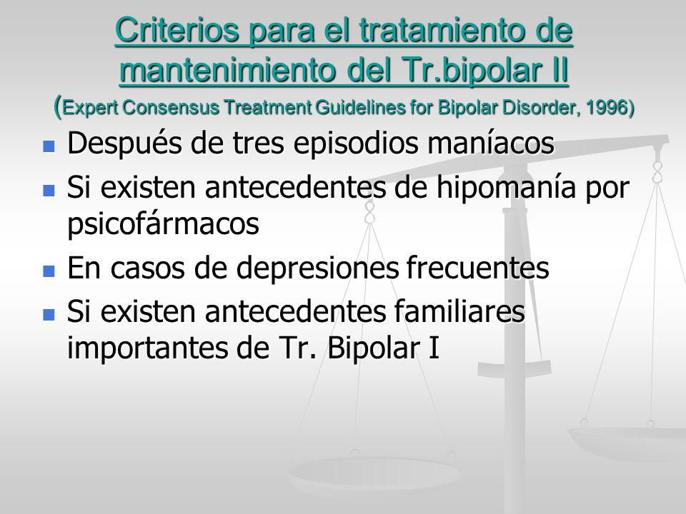 Criterios para el tratamiento de mantenimiento del Tr.bipolar II ( Expert Consensus Treatment Guidelines for Bipolar Disorder, 1996) Después de tres e