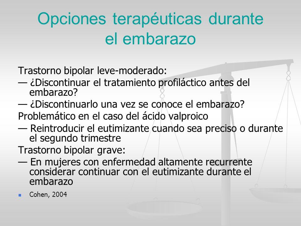 Opciones terapéuticas durante el embarazo Trastorno bipolar leve-moderado: ¿Discontinuar el tratamiento profiláctico antes del embarazo? ¿Discontinuar