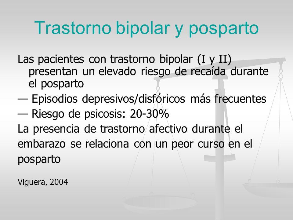 Trastorno bipolar y posparto Las pacientes con trastorno bipolar (I y II) presentan un elevado riesgo de recaída durante el posparto Episodios depresi