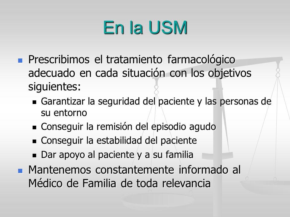 En la USM Prescribimos el tratamiento farmacológico adecuado en cada situación con los objetivos siguientes: Prescribimos el tratamiento farmacológico