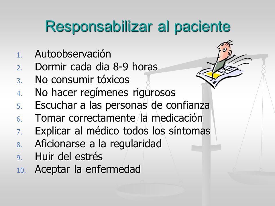 Responsabilizar al paciente 1. Autoobservación 2. Dormir cada dia 8-9 horas 3. No consumir tóxicos 4. No hacer regímenes rigurosos 5. Escuchar a las p