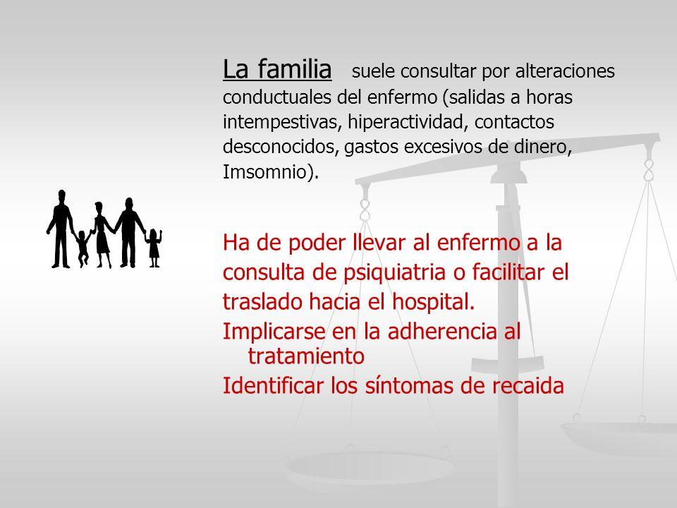 La familia suele consultar por alteraciones conductuales del enfermo (salidas a horas intempestivas, hiperactividad, contactos desconocidos, gastos ex