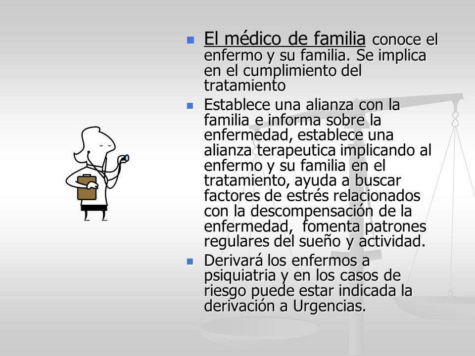 El médico de familia conoce el enfermo y su familia. Se implica en el cumplimiento del tratamiento Establece una alianza con la familia e informa sobr