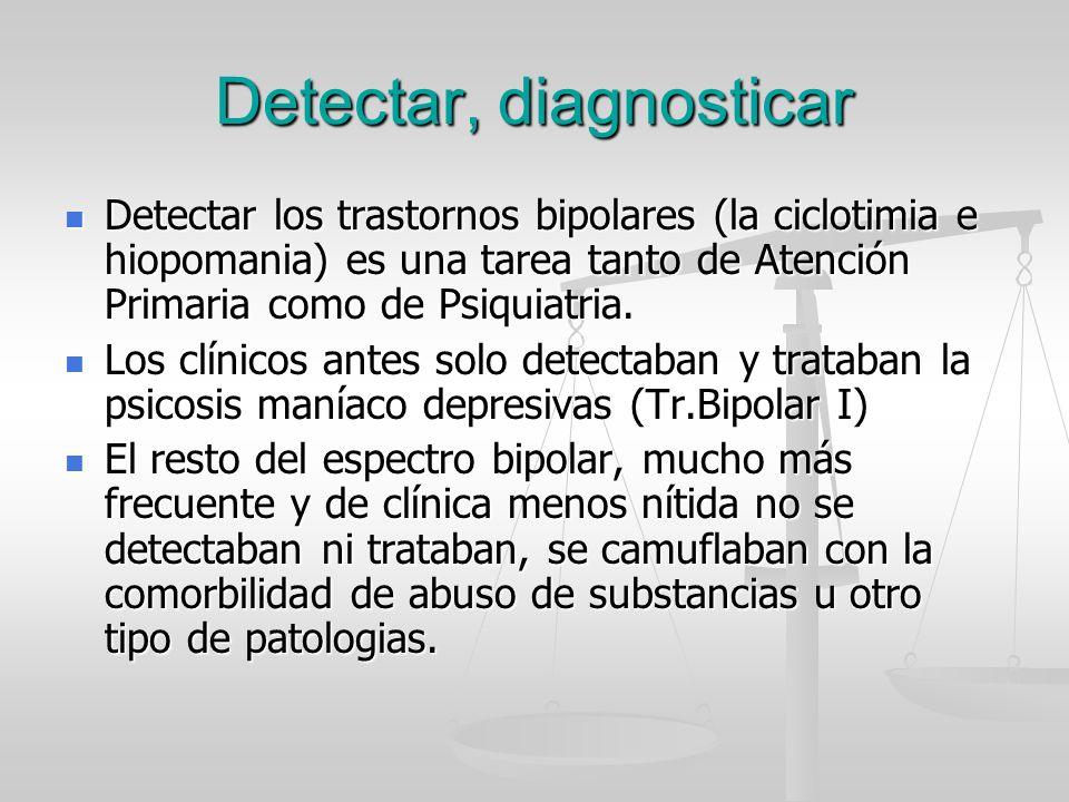 Detectar, diagnosticar Detectar los trastornos bipolares (la ciclotimia e hiopomania) es una tarea tanto de Atención Primaria como de Psiquiatria. Det