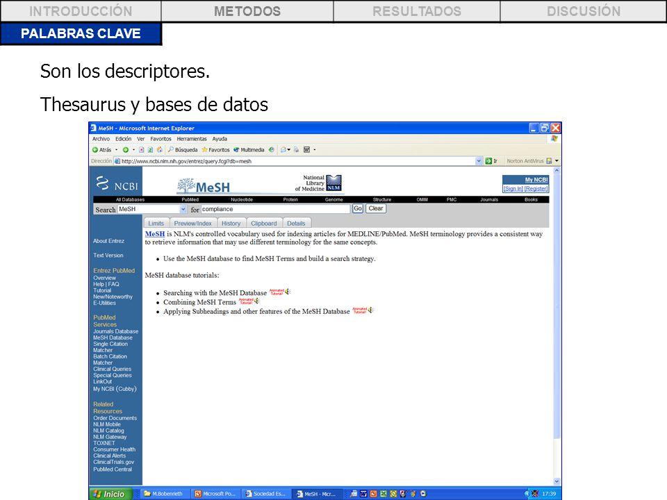 PALABRAS CLAVE INTRODUCCIÓNMETODOSRESULTADOSDISCUSIÓN Son los descriptores. Thesaurus y bases de datos