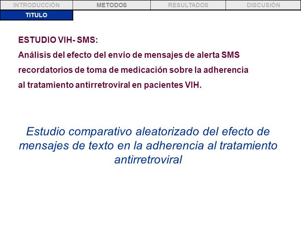 TITULO INTRODUCCIÓNMETODOSRESULTADOSDISCUSIÓN ESTUDIO VIH- SMS: Análisis del efecto del envío de mensajes de alerta SMS recordatorios de toma de medic