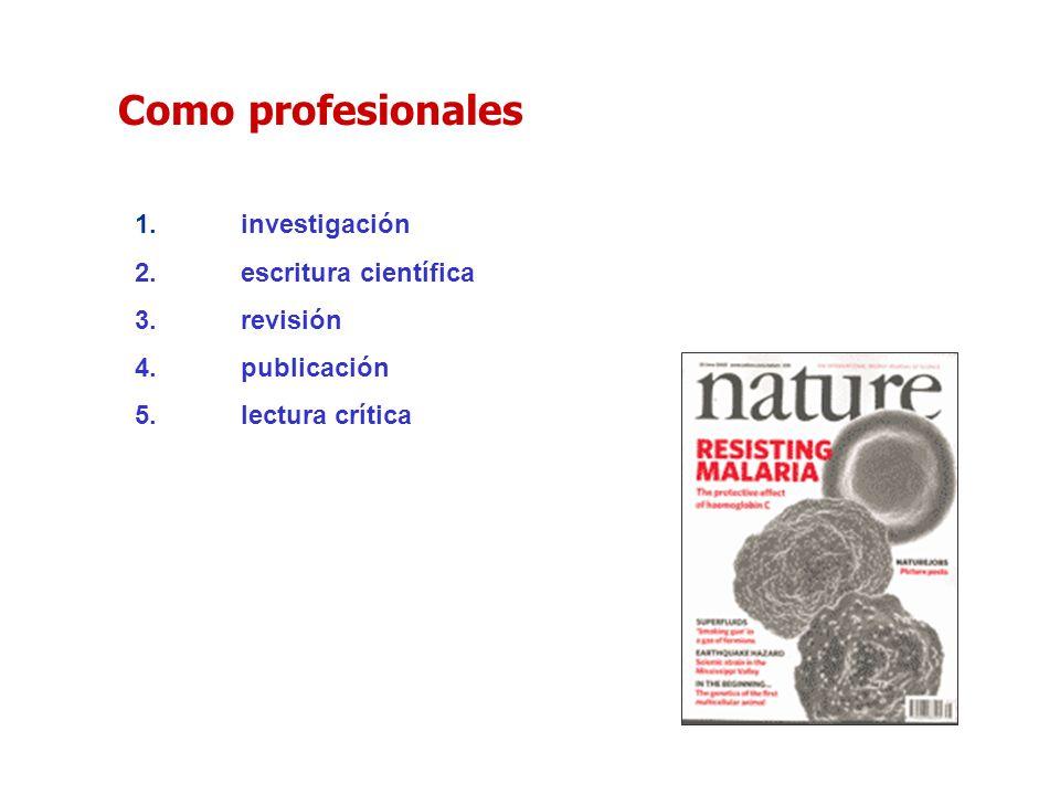 1.investigación 2.escritura científica 3.revisión 4.publicación 5.lectura crítica Como profesionales