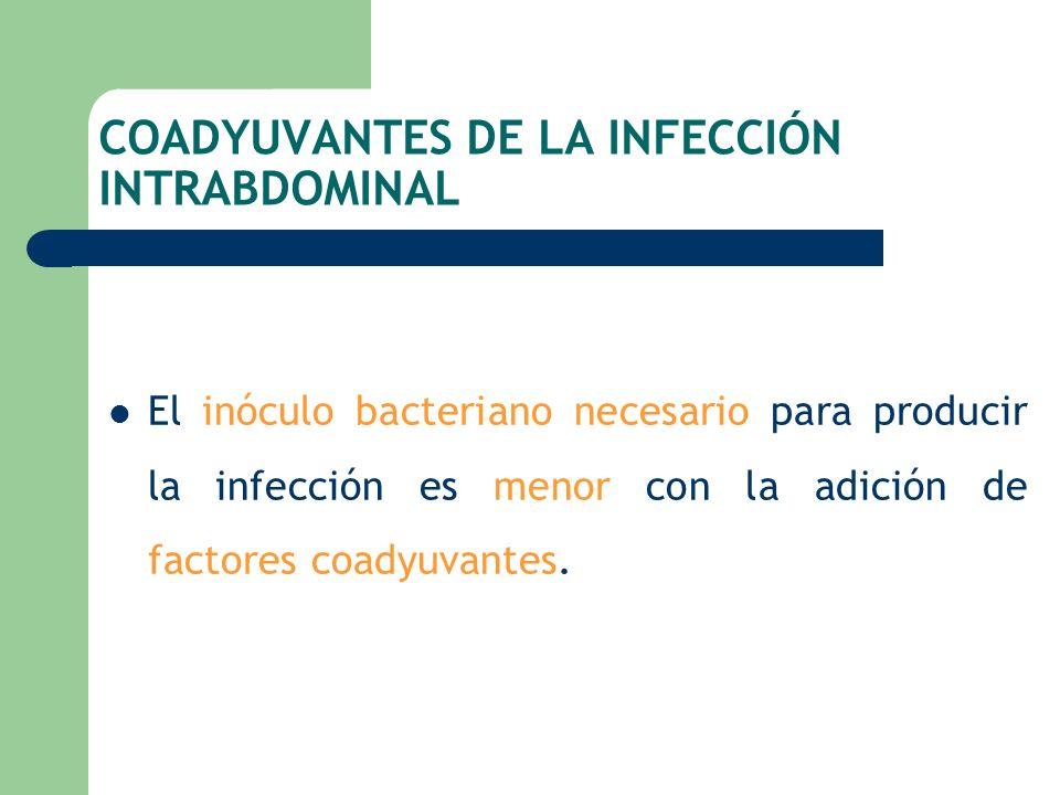 COADYUVANTES DE LA INFECCIÓN INTRABDOMINAL El inóculo bacteriano necesario para producir la infección es menor con la adición de factores coadyuvantes
