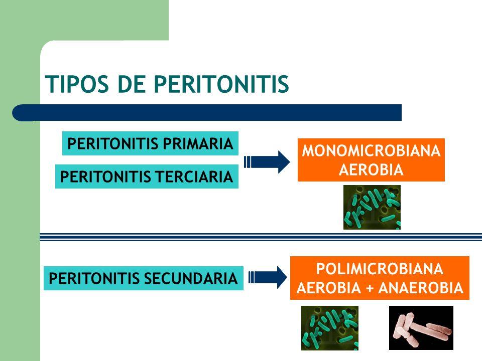 TIPOS DE PERITONITIS PERITONITIS PRIMARIA PERITONITIS TERCIARIA PERITONITIS SECUNDARIA MONOMICROBIANA AEROBIA POLIMICROBIANA AEROBIA + ANAEROBIA
