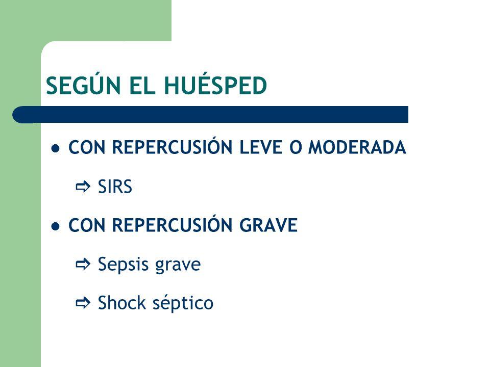 SEGÚN EL HUÉSPED CON REPERCUSIÓN LEVE O MODERADA SIRS CON REPERCUSIÓN GRAVE Sepsis grave Shock séptico