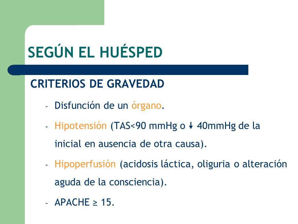 SEGÚN EL HUÉSPED CRITERIOS DE GRAVEDAD – Disfunción de un órgano. – Hipotensión (TAS<90 mmHg o 40mmHg de la inicial en ausencia de otra causa). – Hipo