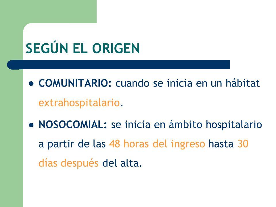 SEGÚN EL ORIGEN COMUNITARIO: cuando se inicia en un hábitat extrahospitalario. NOSOCOMIAL: se inicia en ámbito hospitalario a partir de las 48 horas d