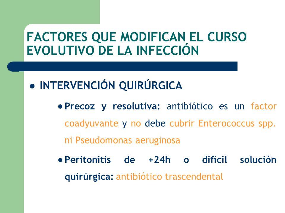 FACTORES QUE MODIFICAN EL CURSO EVOLUTIVO DE LA INFECCIÓN INTERVENCIÓN QUIRÚRGICA Precoz y resolutiva: antibiótico es un factor coadyuvante y no debe
