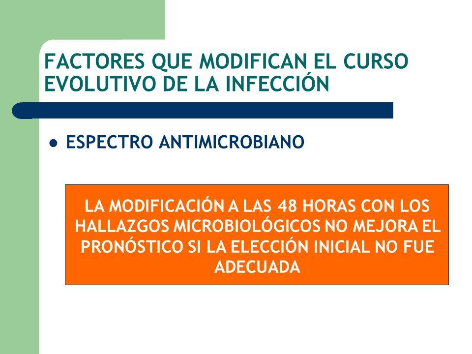 FACTORES QUE MODIFICAN EL CURSO EVOLUTIVO DE LA INFECCIÓN ESPECTRO ANTIMICROBIANO LA MODIFICACIÓN A LAS 48 HORAS CON LOS HALLAZGOS MICROBIOLÓGICOS NO