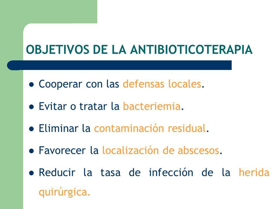 OBJETIVOS DE LA ANTIBIOTICOTERAPIA Cooperar con las defensas locales. Evitar o tratar la bacteriemia. Eliminar la contaminación residual. Favorecer la