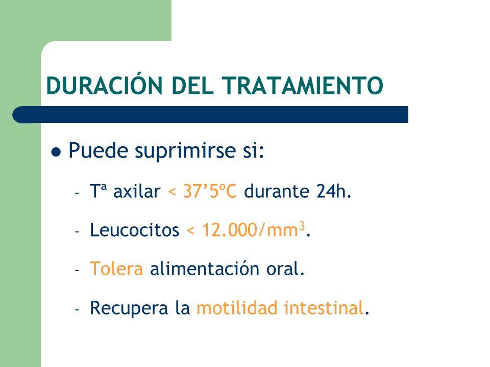 DURACIÓN DEL TRATAMIENTO Puede suprimirse si: – Tª axilar < 375ºC durante 24h. – Leucocitos < 12.000/mm 3. – Tolera alimentación oral. – Recupera la m