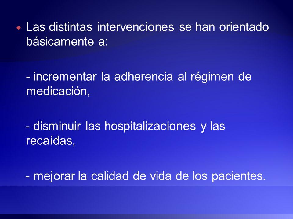 Las distintas intervenciones se han orientado básicamente a: - incrementar la adherencia al régimen de medicación, - disminuir las hospitalizaciones y