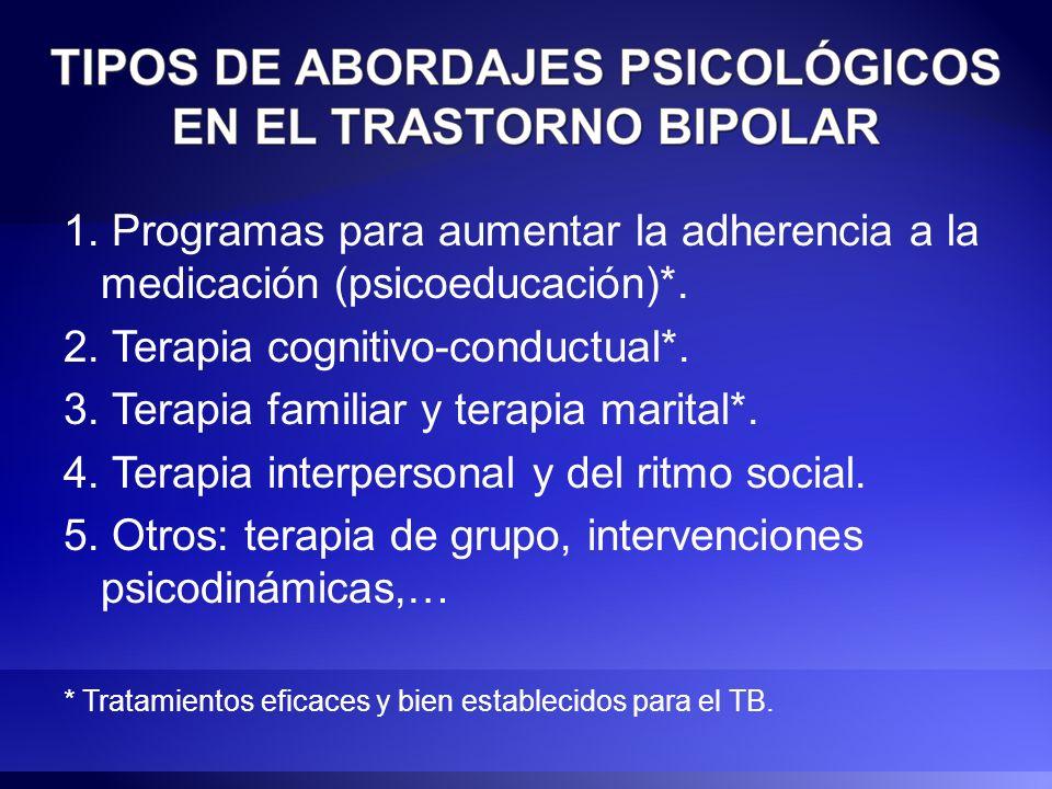 1. Programas para aumentar la adherencia a la medicación (psicoeducación)*. 2. Terapia cognitivo-conductual*. 3. Terapia familiar y terapia marital*.
