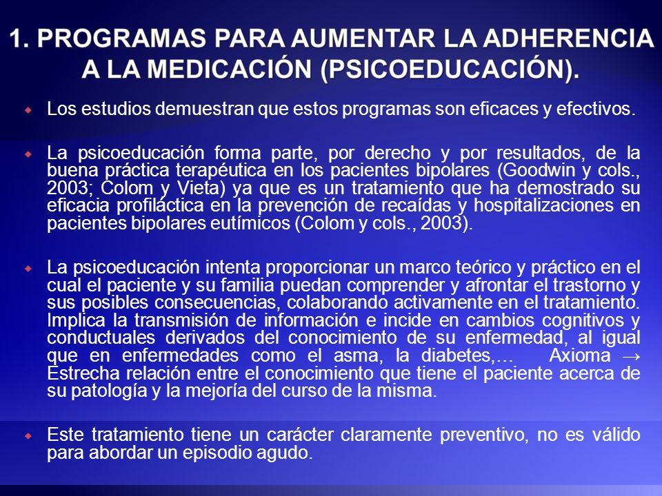 Los estudios demuestran que estos programas son eficaces y efectivos. La psicoeducación forma parte, por derecho y por resultados, de la buena práctic