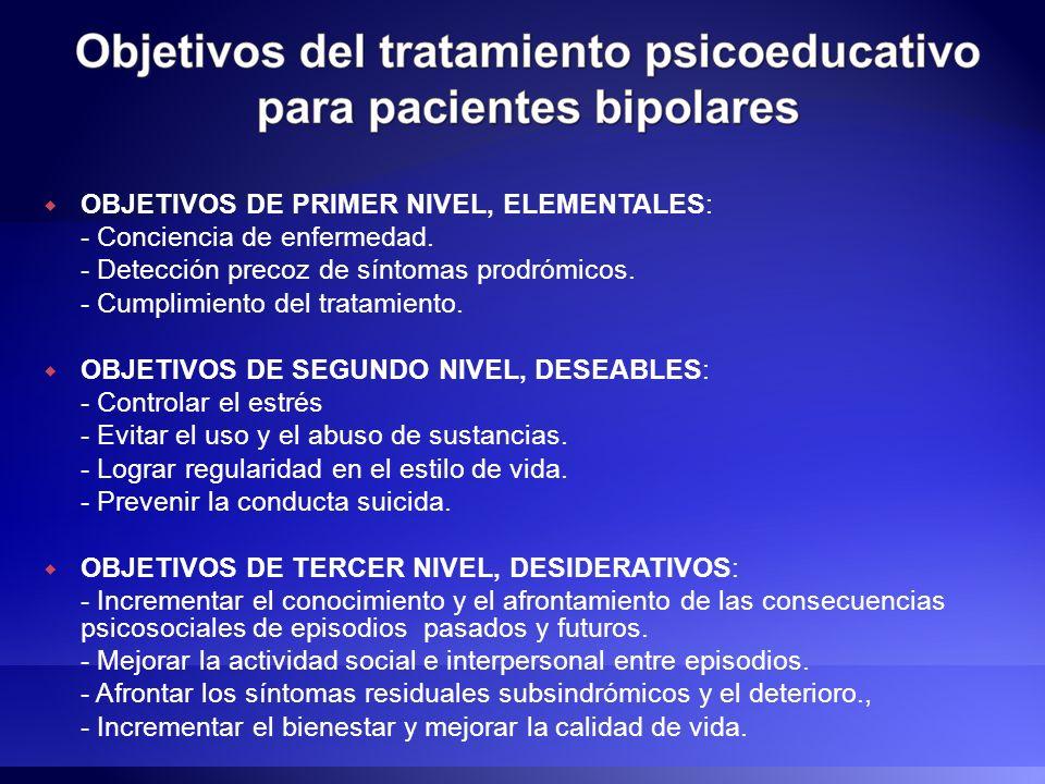 OBJETIVOS DE PRIMER NIVEL, ELEMENTALES: - Conciencia de enfermedad. - Detección precoz de síntomas prodrómicos. - Cumplimiento del tratamiento. OBJETI