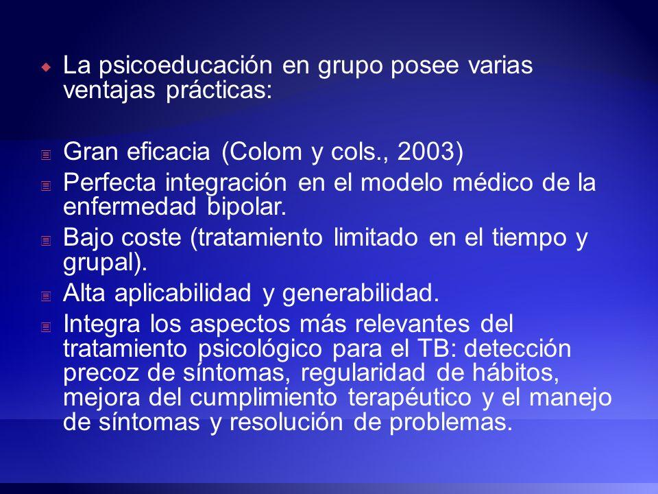 La psicoeducación en grupo posee varias ventajas prácticas: Gran eficacia (Colom y cols., 2003) Perfecta integración en el modelo médico de la enferme