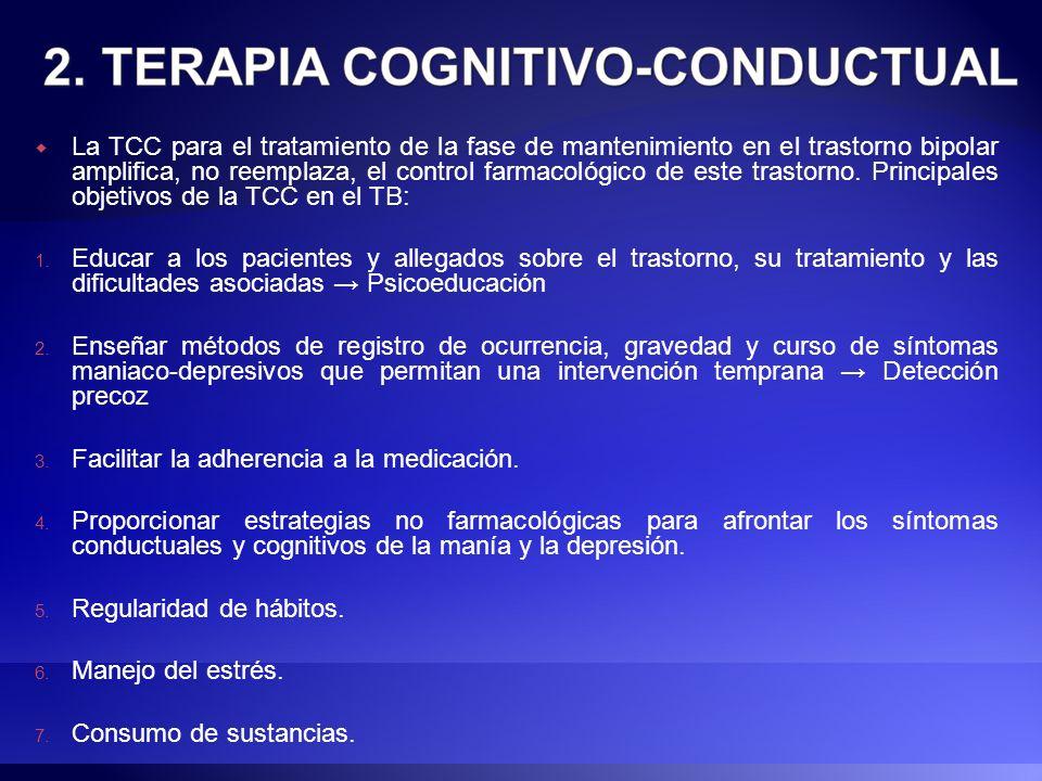 La TCC para el tratamiento de la fase de mantenimiento en el trastorno bipolar amplifica, no reemplaza, el control farmacológico de este trastorno. Pr