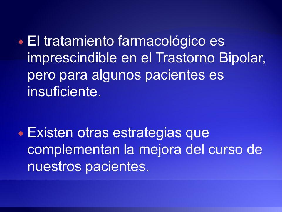 El tratamiento farmacológico es imprescindible en el Trastorno Bipolar, pero para algunos pacientes es insuficiente. Existen otras estrategias que com