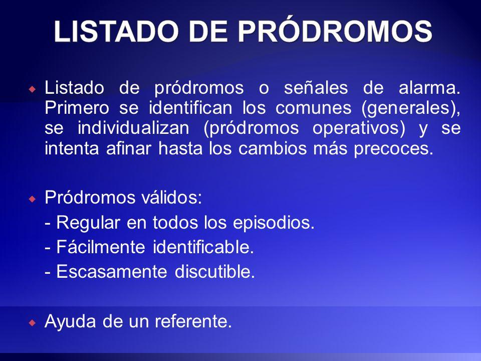 Listado de pródromos o señales de alarma. Primero se identifican los comunes (generales), se individualizan (pródromos operativos) y se intenta afinar