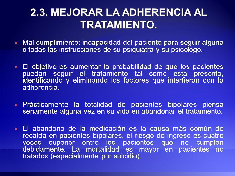 Mal cumplimiento: incapacidad del paciente para seguir alguna o todas las instrucciones de su psiquiatra y su psicólogo. El objetivo es aumentar la pr